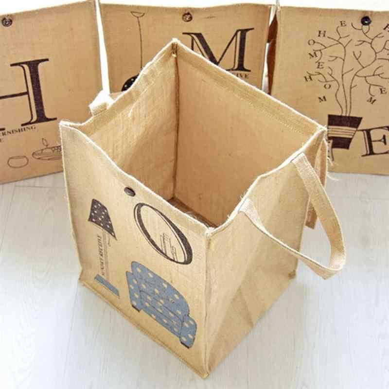 1 pcs Impressão Bonita Simples Juta Saco Tampa Lavanderia Lavanderia Saco de Lidar Com Saco de Roupa Suja para a Lavanderia Sala de Casa Lavanderia