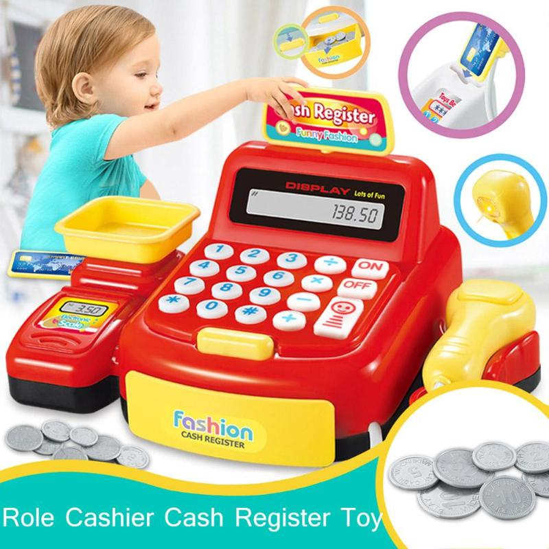 Simulated Supermarket Checkout Counter Role <font><b>Cashier</b></font> Cash Register <font><b>Toy</b></font> Kids Pretend Play <font><b>Toys</b></font> Electronic <font><b>Toys</b></font> for Children Gifts image