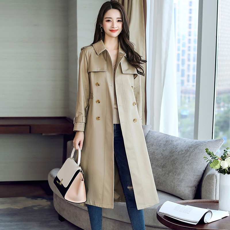 Brand Classic Double Breasted   Trench   Coat Women Windbreaker With Belt Fashion Lady Elegant Slim Long Coat Spring Autumn Outwear