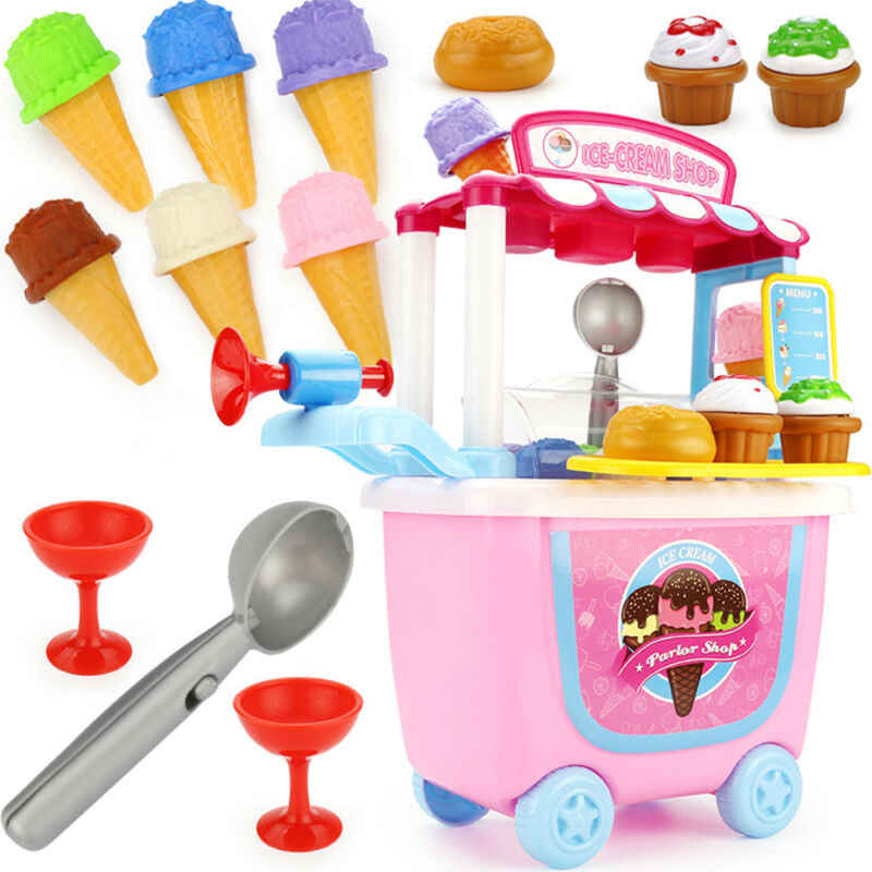 Children Gift Ice Cream Cart Play Set Kids Pretend play Toy Food Toys Education Hobby Funny Groceries KID Gift Drop Shipping