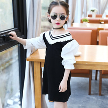 все цены на Children's clothing girls' clothes spring and autumn 2019 new long-sleeved cotton stitching baby clothes