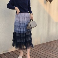 Fashion Gradient Blue Tiered Mesh Party Skirts Spring Summer High Waist Sweet Puff Skirts