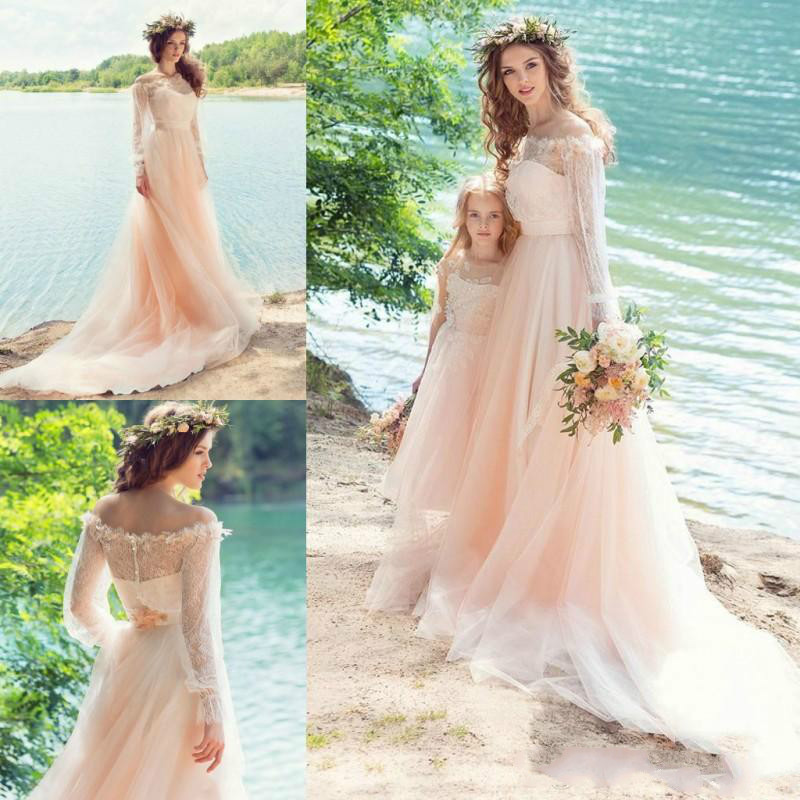 Us 374 04 Pink Fairy Wedding Dresses Country Style Off Shoulder Long Sleeves Sheer Neck With Applique Wedding Soft Tulle Bridal Dresses In Wedding