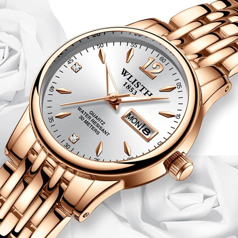 Women Dress Watch Rose Gold Stainless Steel WLISTH Brand Fashion Ladies Wristwatch Week Date Quartz Clock Female Luxury Watches