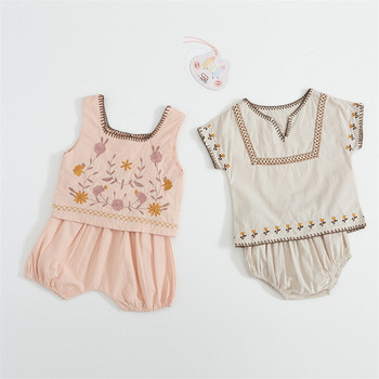 Vintage embroidery family clothing set cotton linen newborn baby blouse+shorts for toddler boy/girls clothing children outfits