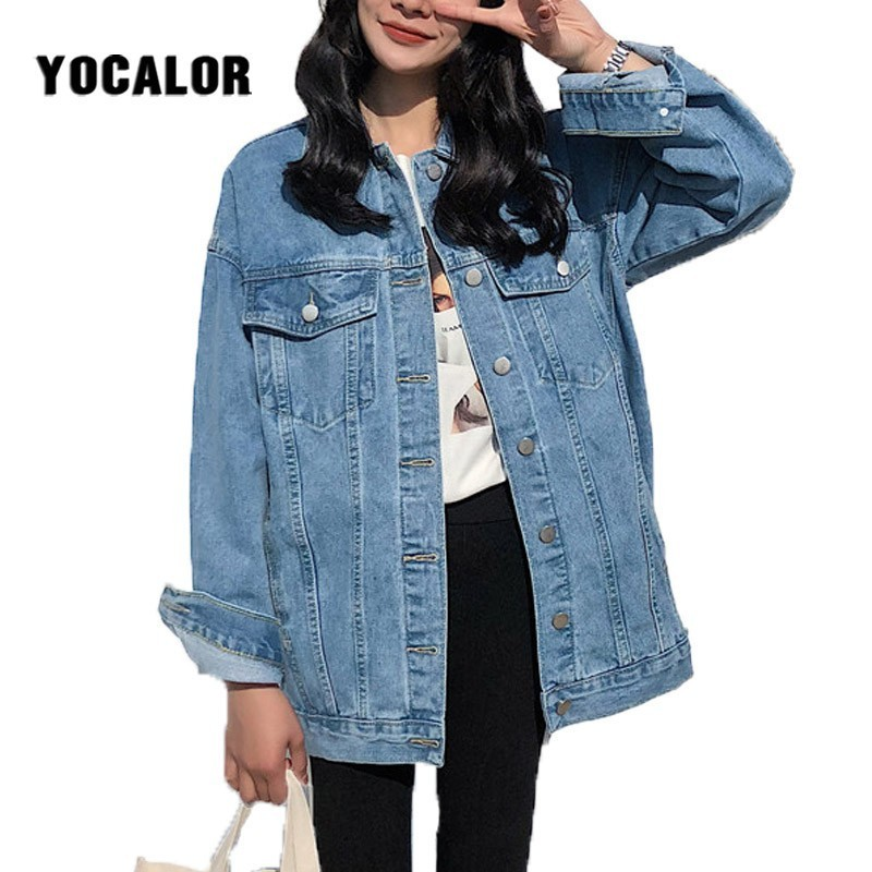 YOCALOR Solid Jean Jeans Jacket For Women Loose Casual Blue Women Coats Female Outwear Denim Feminine Chaqueta Mujer Coat Autumn