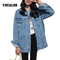 YOCALOR Solid Jean Jeans Jacket For Women Loose Casual Blue Women Coats Female Outwear Denim Feminine Chaqueta Mujer Coat Autumn