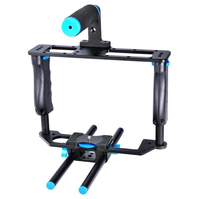 SLR Camera Video Cage Film Movie Making Kit Video Cage Handle Grip Rod RigSLR Camera Video Cage Film Movie Making Kit Video Cage Handle Grip Rod Rig