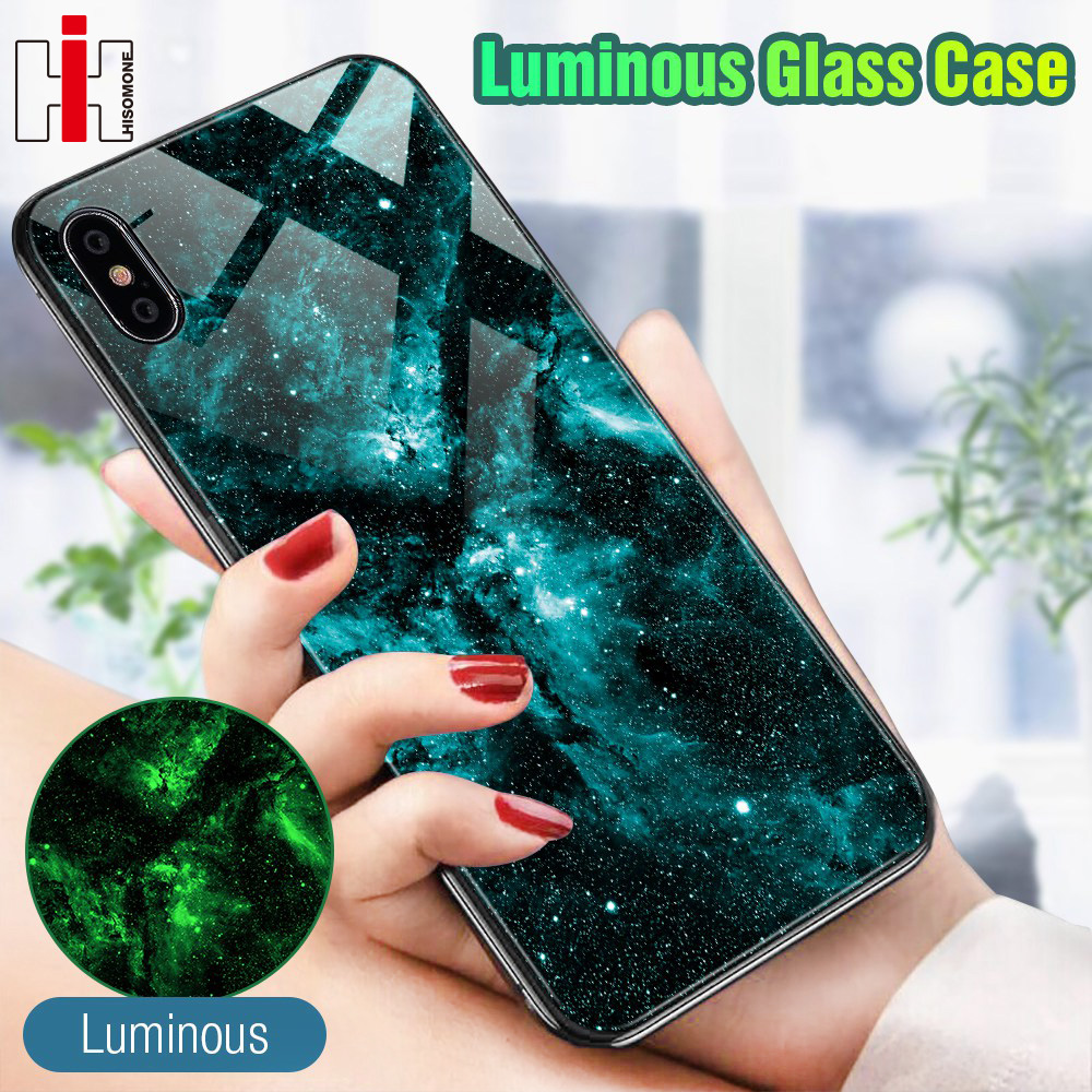Hisomone Luminous Glass Case For iPhone 7 8 Plus Case Luxury Silicone Cover For iPhone Xs Max Case For iPhone 6 6S 6 S 8Plus X чехлы марвел