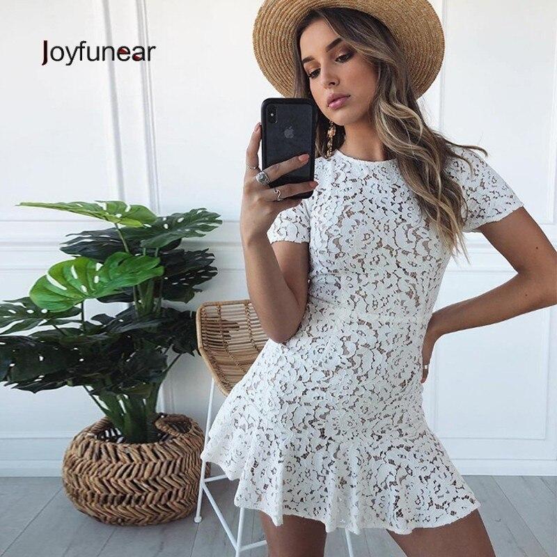 Joyfunear 2019 Short Sleeve O Neck Lace Dress Women Chic Casual Beach Dress Summer Hollow Out Bandage Back Short Dress Vestidos