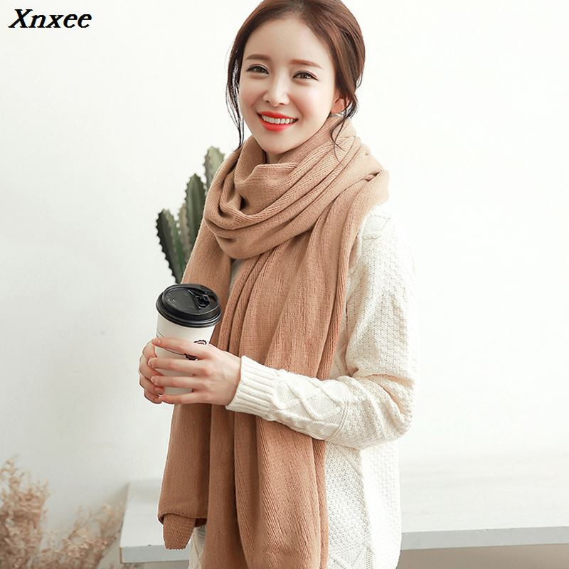 New fashion Korean version of the white student wool scarf winter knit solid color thick widen large shawl long unisex couple