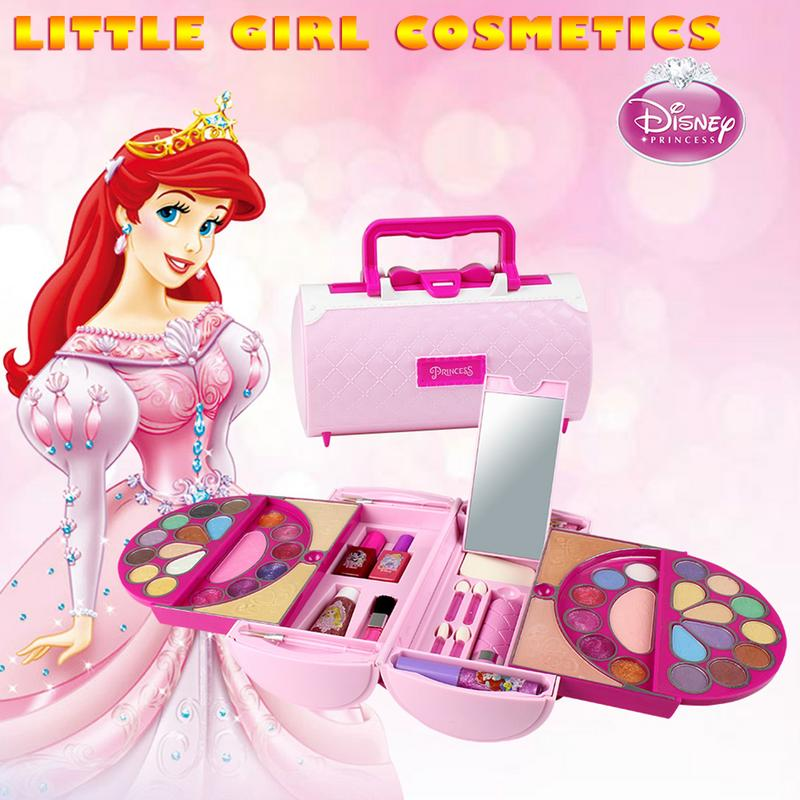 53Pcs Disney Pretend Play Beauty Fashion Toy Children Cosmetics Princess Makeup Set Girl Toys Portable Makeup Bag Birthday Gift