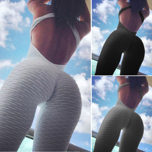 NEW Fashion Women Sport Gym Rompers Suit Fitness Backless Bodycon Skinny Workout Jumpsuit Bodysuits