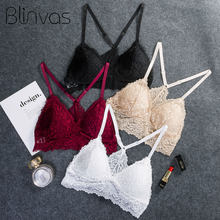 Top Lace Women Sexy White Bra Sexy Bras for Women Lace Wireless Bra Push Up Cotton Bras(China)