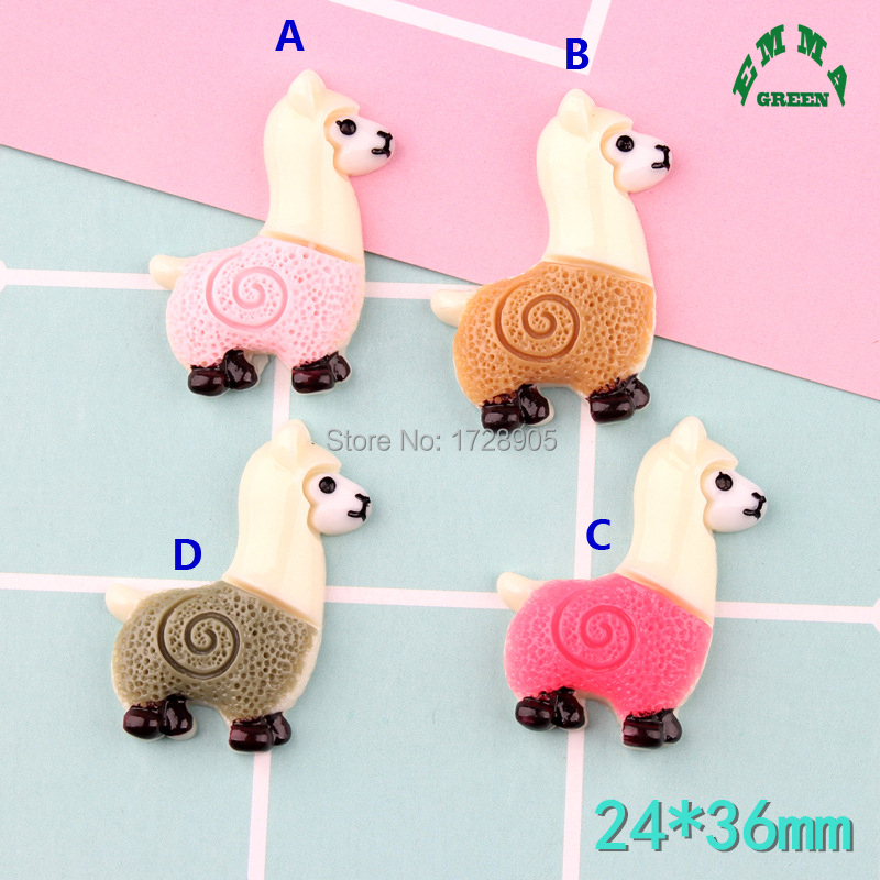 Resin Cabochons Alpaca Animal for Diy Scrapbooking Phone Case Decorative Craft 10 pcs 36 mm DIY Miniature Artificial Lovely