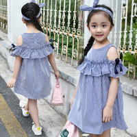 Summer Children Clothing Striped Patchwork Design Dress For Girls Simple Temperament Comfortable Kids Clothing Cute Outfit 6 14Y