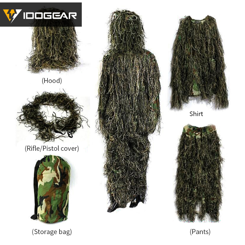 IDOGEAR Ghillie Suit Hunting Jungle Clothing Bionic 3D Woodland Sniper Train Camouflage Wargame Airsoft Gear Tactical