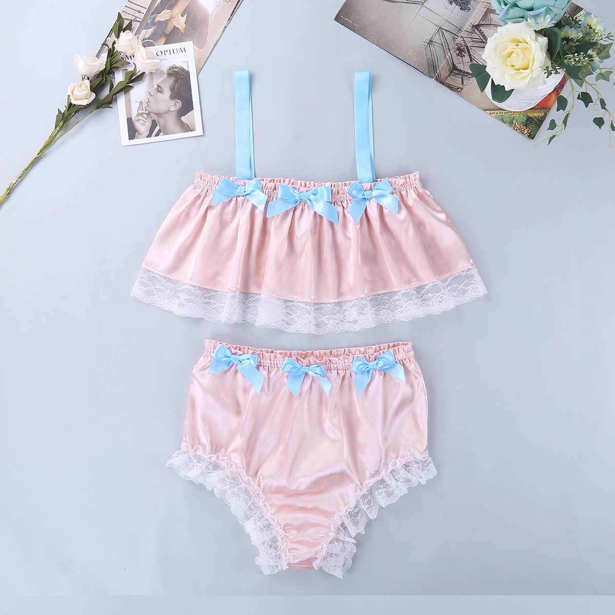 d6e469fa56ee9 TiaoBug New Men Soft Satin Lace Crossdressing Sissy Lingerie Set Spaghetti  Straps Crop Top Bikini Briefs Hot Sexy Underwear Set