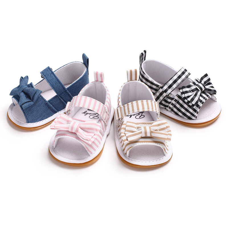 Infant Kids Baby Girls Sandals Summer Newborn Crib Non-Slip Shoes Sandals Shoes Size Toddler Princess Bow Stripe Sandals