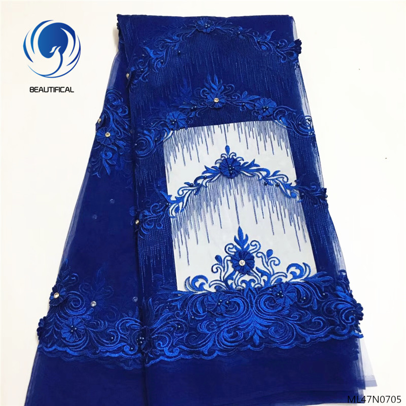 Beautifical african lace fabrics 2019 blue lace dress with beads high quality laces fabrics for women 5yards/lot ML47N07Beautifical african lace fabrics 2019 blue lace dress with beads high quality laces fabrics for women 5yards/lot ML47N07
