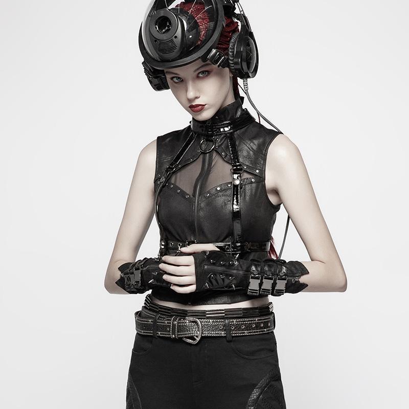 Punk Rave femmes Goth boucle Rivet noir gants WS278SSF - 2