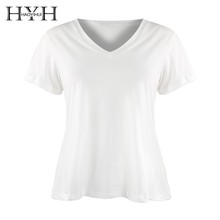 HYH HAOYIHUI  White Solid V-Neck T-shirt Women Short Sleeve Cotton Tops Low Price New Arrival Hot 2019 Summer