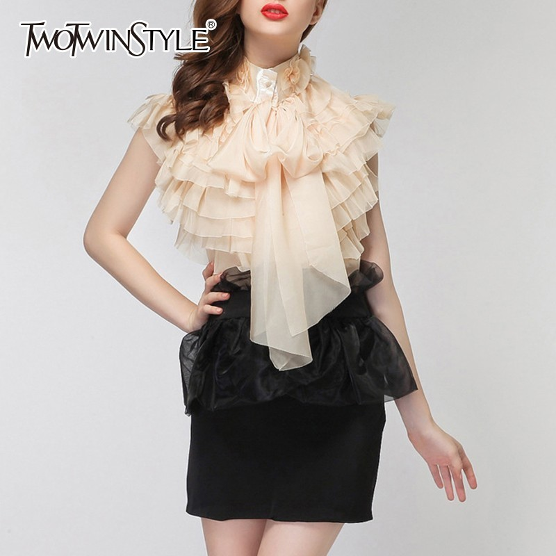 TWOTWINSTYLE Chiffon Blouse Tops Female Sleeveless Perspective Bowknot Ruffles Shirts For Women 2020 Summer Sexy Fashion