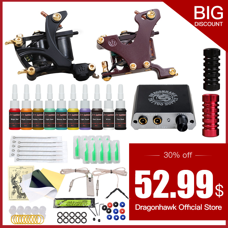 High Quality Tattoo Kits 2 Guns Machines 10 Ink Sets Power Supply Needle Pedal Tips D175GD