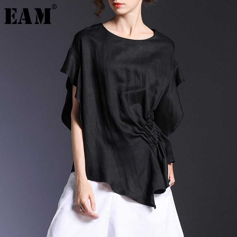 EAM 2019 New Spring Summer Round Neck Short Sleeve Black Loose Pleated Irregular Sleeve T