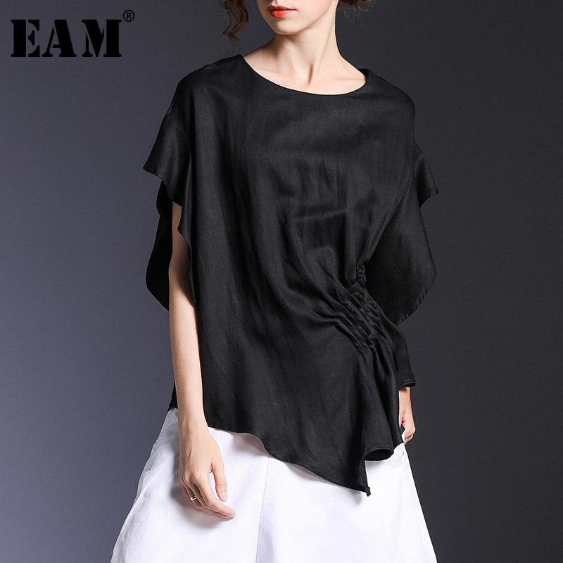 [EAM] 2020 New Spring Summer Round Neck Short Sleeve Black Loose Pleated Irregular Sleeve T-shirt Women Fashion Tide JS503