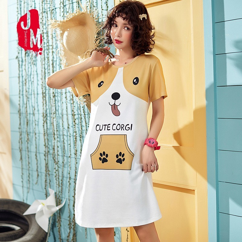 2019 Cotton   Nightgown   Women Short Sleeve Animal Nightwear Sleepwear Female Lounge Wear Night Dress Home   Sleepshirt   Nighty XXL