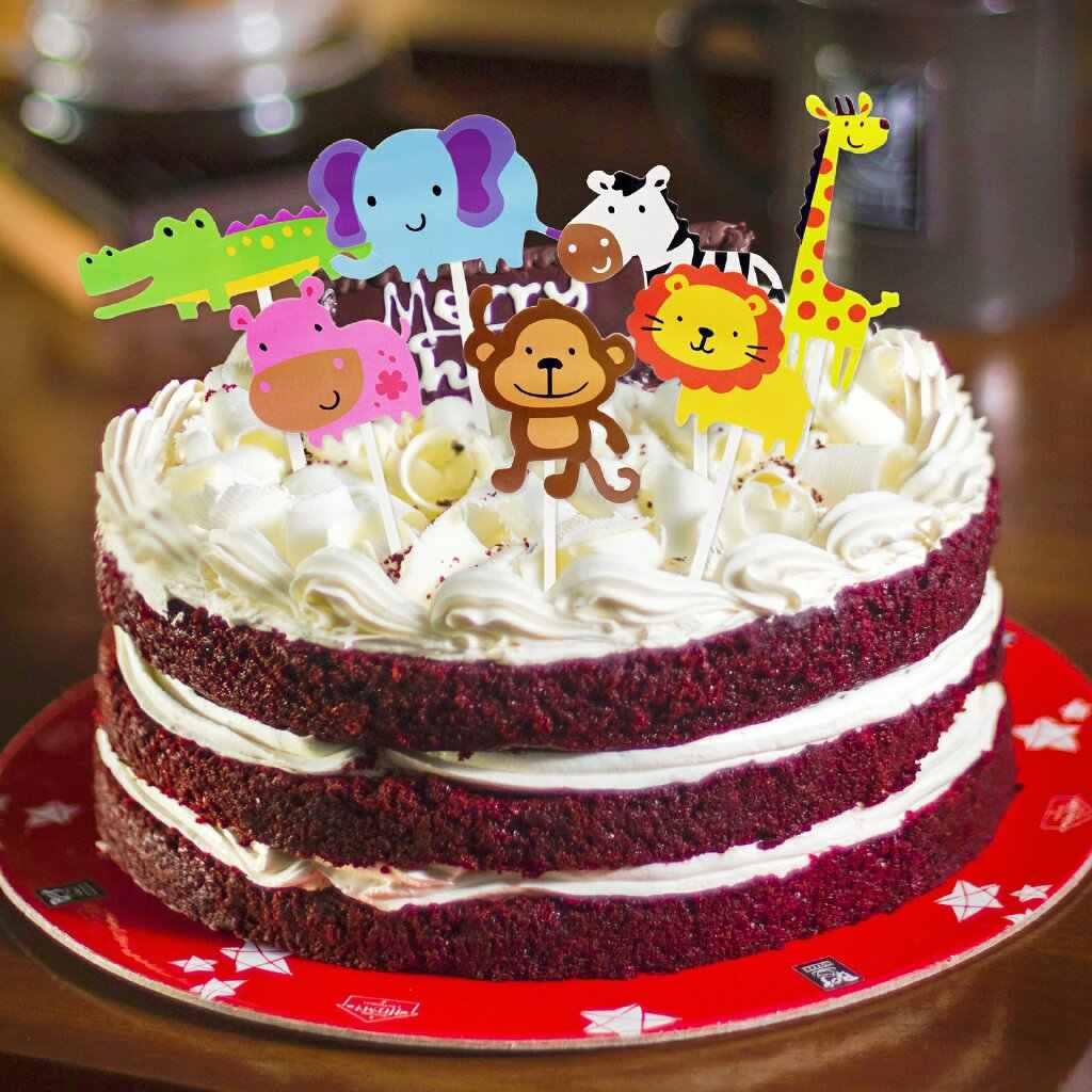 7pcs Pack Animal Cake Topper Kid Birthday Party Wild Jungle Safari Supplies