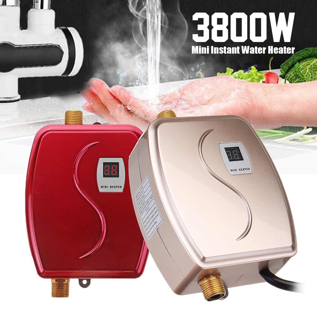 3800W Mini Tankless Instant Hot Water Heater Faucet Kitchen Heating Thermostat US/EU Plug Intelligent Energy Saving Waterproof