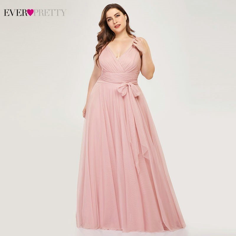 Plus Size Bridesmaid Dresses Ever Pretty EP07303 Blush Pink A-Line V-Neck Tulle Elegant Lavande Long Dress For Wedding Party(China)