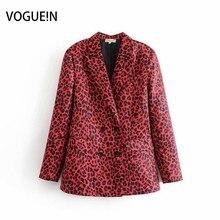 059f6c8b27654 VOGUEIN New Womens Leopard Padrão Animal Print Blazer Vermelho Terno Casaco  Outwear Atacado