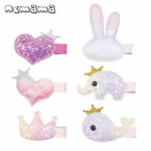 ncmama 6 Pcs/lot Cute Glitter Hair Clips Unicorn Hairpins for Girls BB Korean Princess Hairgrips Kids Accessories