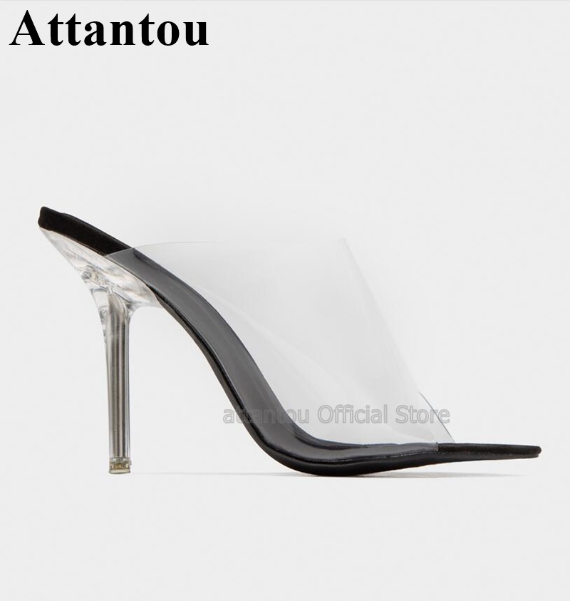 Fashion Peep Toe High Heel Sandals Women Clear Transparent PVC Crystal Slip On Dress Shoes Summer Sandals