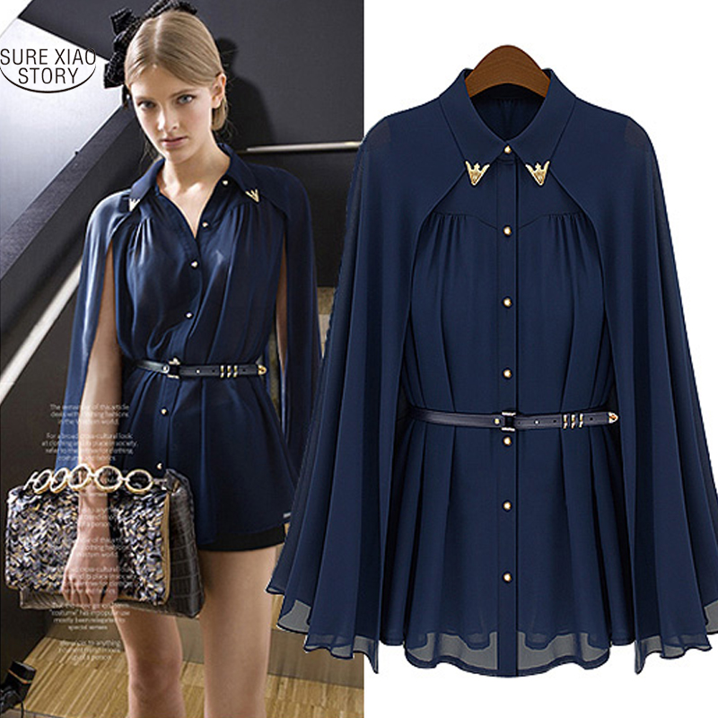 2019 Fashion Blusas Leisure Women Shirts Shawl Cape-Style Chiffon Blouse Sun Protection Clothing Blusas Femininas 980C 20