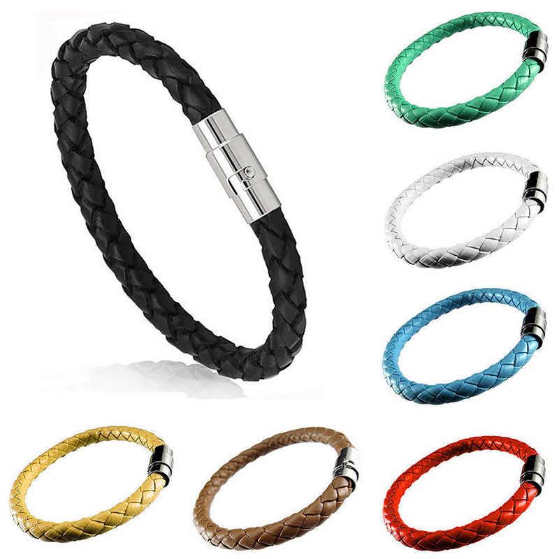 織ブレスレット 1 ピースカップルブレスレット磁気クラスプ男性女性編組レザースチール革ロープユニセックス