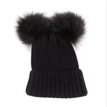 ae4c774a Autumn Winter Baby Boys Girls Faux Fur Pompom Hat Female Warm Cap Knitted Beanie  Girl Double