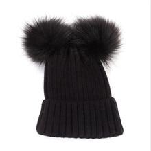 a307c2b62e5 Autumn Winter Baby Boys Girls Faux Fur Pompom Hat Female Warm Cap Knitted  Beanie Girl Double
