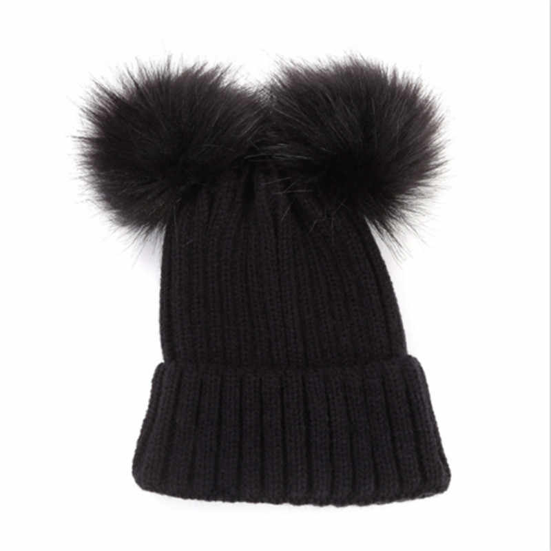 61f307b8c Autumn Winter Baby Boys Girls Faux Fur Pompom Hat Female Warm Cap Knitted  Beanie Girl Double Ball Pom Pom Hats Kids Bonnet Femme