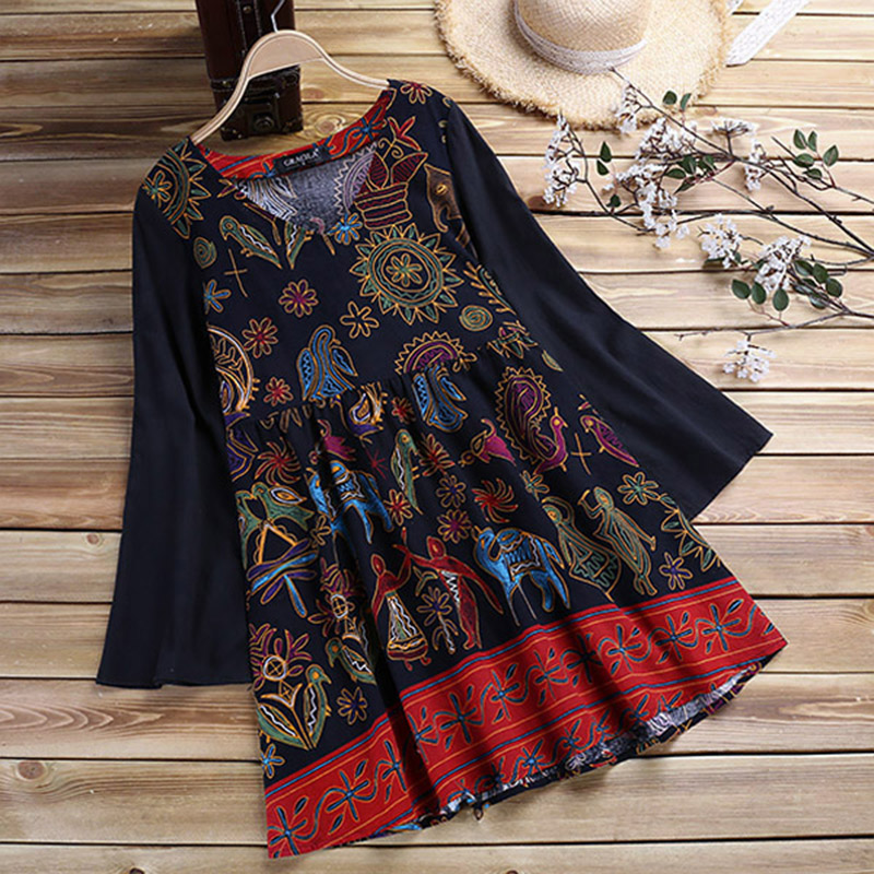 2019 Spring Women Vintage Floral Printed Long Sleeve Blouse Bohemian Pleated Cotton Linen Shirt Casual Female Top Tunic Blusas