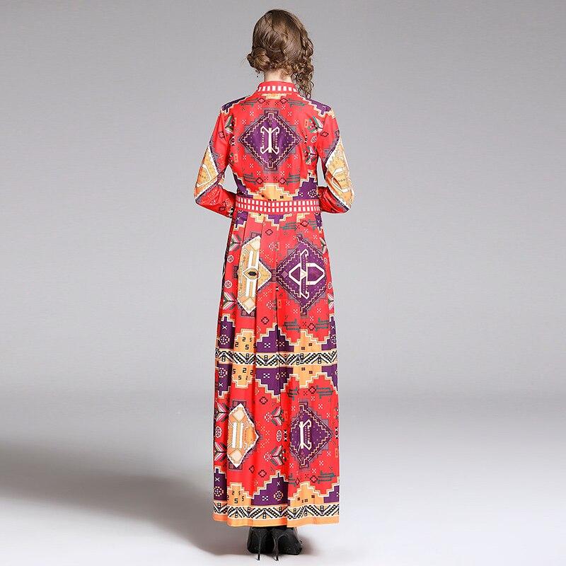 Image 5 - Banulin 2019 Summer Runway Elegant Floral Print Long Sleeve Long  Maxi Party Dress Womens Boho Vestidos Robe Femme B7226Dresses   -
