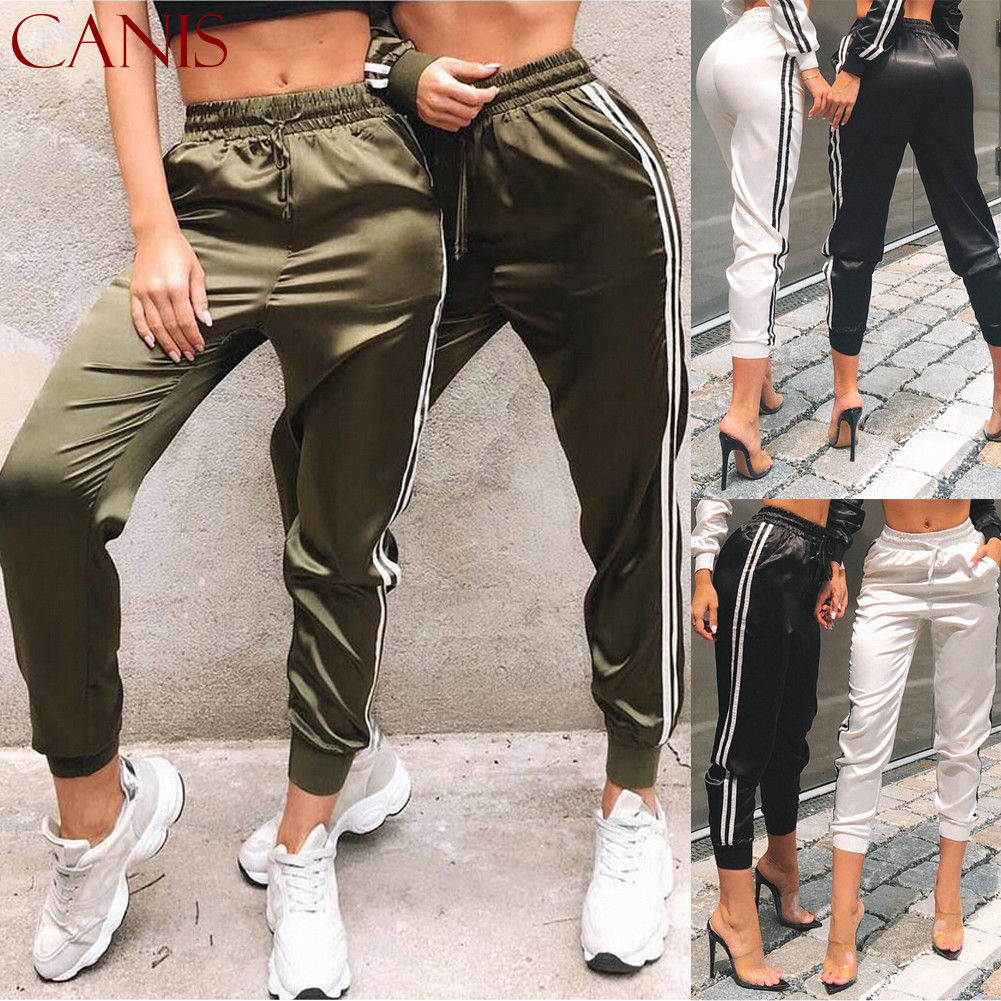 New  Women Fashion Casual Comfy Fitness Pants Running Gym Sport High Waist Jogging Pants Trousers