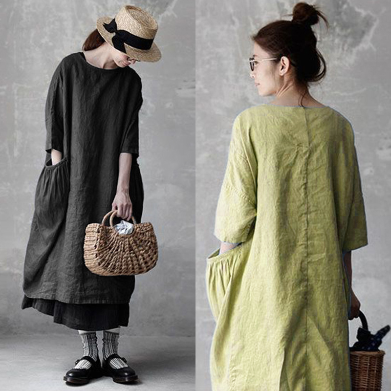 Vintage Linen Dress Women's Sundress 2019 ZANZEA Casual Summer Long Dress Female 3/4 Sleeve Baggy Vestidos Robe Femme Plus Size