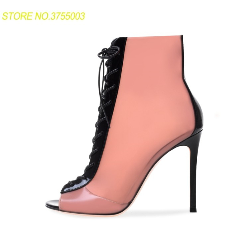 Peep Transparente Tacones Gladiador Show Botines Bombas Mujeres Mujer  Zapatos As Sandalias Tobillo Show Toe as ... 29f39f1c8282