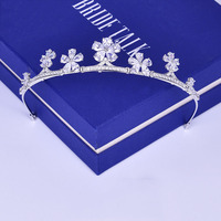 Clear Cubic Zirconia Tiara Crown Fashion Korean Wedding Bridal Headband Hair Jewelry Pear Cut Zircon Flower Headpiece Coronet