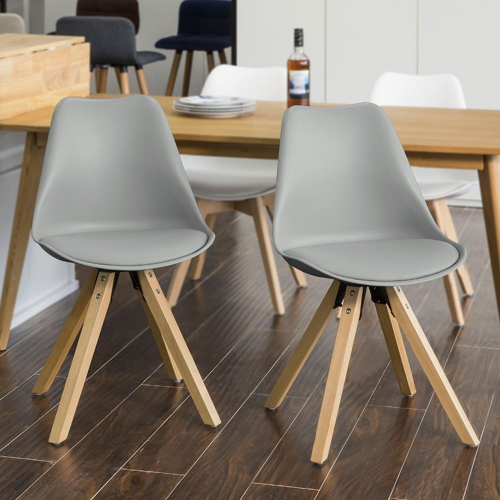 SoBuy FST59-HGx2, Set of 2 Dining Chair Kitchen Chair Office Chair, Natural Solid Wood Legs with Cushioned Seat, GreySoBuy FST59-HGx2, Set of 2 Dining Chair Kitchen Chair Office Chair, Natural Solid Wood Legs with Cushioned Seat, Grey