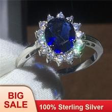 Royal Jewelry księżna Diana 100 prawdziwe 925 srebro pierścień niebieski 5A cyrkon Cz obrączka obrączki dla kobiet Bridal tanie tanio vecalon SILVER 925 sterling Kobiety Osoba trzecia oceny Prong ustawianie Pierścionki Serce Klasyczny Zespoły weselne